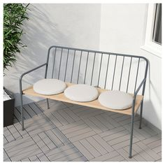 PRÄSTHOLM Bench with backrest, outdoor, gray. This bench has a durable and easy-care powder-coated steel frame, combined with a solid wood seat that gives the furniture a warm and natural look. Metal Garden Benches, Patio Bench, Outdoor Garden Furniture, Garden Chairs, Outdoor Chairs, Home Furniture, Ikea Outdoor, Adirondack Chairs, Furniture Stores