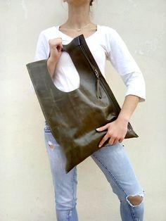 Leather bag Everyday bag Designers handmade bag Olive Zipper leather tote Leather bag Shoulder leather bag Fashion leather bag - Bags and Purses 👜 Cute Handbags, Cheap Handbags, Purses And Handbags, Luxury Handbags, Big Purses, Popular Handbags, Cheap Purses, Fabric Handbags, Cheap Bags