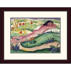 Global Gallery 'Nude Lying in The Flowers' by Franz Marc Framed Painting Print Size: