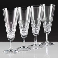 4 schöne Vintage Sektgläser Waffel Oval Linsen Schliff Kristall Gläser W3C
