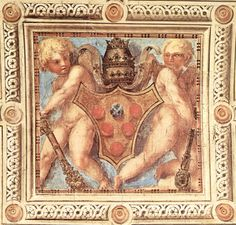 Scene with cherubs on Medici papal coat of arms, by Jacopo Pontormo, 1515 [Pope Leo X Chapel, Santa Maria Novella Church, Florence, Italy].