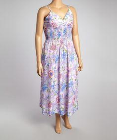 Another great find on #zulily! Lavender & Blue Floral Shirred Surplice Maxi Dress - Plus #zulilyfinds