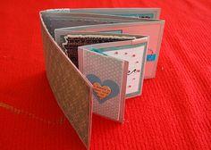 Mini Album from one piece Cardstock Mini Albums Scrap, Mini Scrapbook Albums, Book Crafts, Paper Crafts, Mini Album Tutorial, Album Book, Handmade Books, Card Tutorials, Smash Book