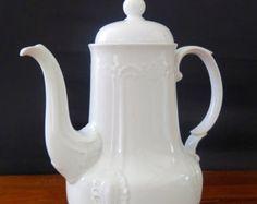 White china coffee pot, classic coffee pot, Mitterteich Bavaria coffee pot, decorative, white porcelain pot, German white porcelain