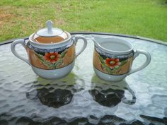 Noritake Lusterware Antique Creamer and Sugar with Lid Hand Painted