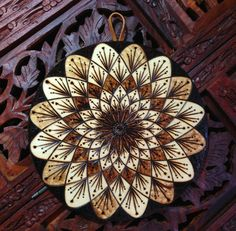 Flower Mandala Wall Hanging Boho Mandala Pyrography by BurntBirch
