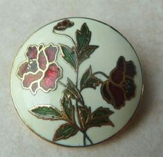 Vintage dainty, stunning , cloisonne enamel rose flower brooch by Fish and Crown.
