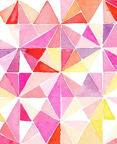Handmade Watercolor Abstract Triangles in Red by YaoChengDesign