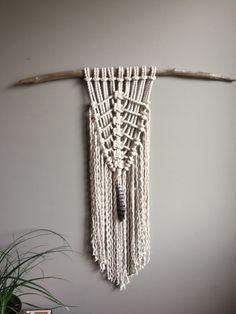 Macrame Wall Hanging Feather Shield Medium by MoonshadowMacrame