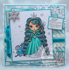 This is my penultimate Christmas card! Just one more to make for my mum and dad but I'm not seeing them until Christmas Eve,so I have a. Snow Queen, Christmas Cards, Christmas Eve, Faeries, Dragon, Princess Zelda, Ink, Fantasy, Stamping