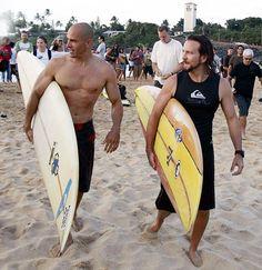 Eddie Vedder (right) with Kelly Slater