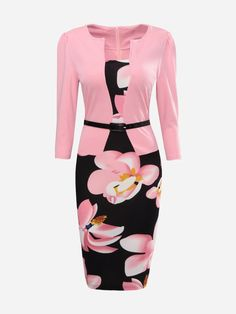Floral Printed Patchwork Fake Two-piece Bodycon Dress