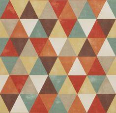 Coral Aqua Blue Geometric Upholstery Fabric  by PopDecorFabrics