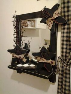 Primitive Distressed Mirror with Shelf LOADED, 3 Primitive stars burlap, berries, and candle holder