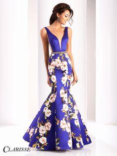 Clarisse Purple Floral Mermaid Prom Dress 4813. Unique and elegant v neck prom dress for 2017 | Promgirl.net