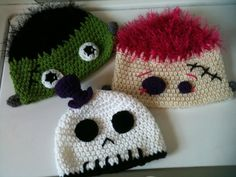 crochet Frankenstein, skull could totally pass as Jack fro nightmare before Christmas , zombie hats