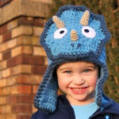 Items similar to Featured in Inc Magazine Triceratops Hat - Crochet Pattern (Bomber Style) - Permission to sell finished items on Etsy Crochet Santa Hat, Crochet Animal Hats, Crochet Bunny, Crochet Beanie, Crochet For Kids, Knit Crochet, Crochet Hats, Crochet Snowman, Snowman Hat