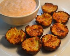Zucchini Tots.  So good! Next time I'll cut back on the salt as it was just a tad bit too salty.  Doesn't need the dip.