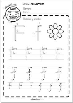 Fichas letra a letra para aprender las letras en #español #castellano. material complementario a LEO CON GRIN de www.educaplanet.com