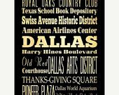 ON SALE Dallas, Texas, Typography Art Poster / Bus  / Transit / Subway Roll Art 18X24 - Dallas's Attractions Wall Art Decoration -  LHA-182