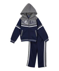 Navy 'Football' Hoodie & Sweatpants - Infant, Toddler & Boys #zulily #zulilyfinds