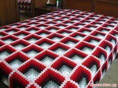 Crochet Bedspread Pattern, Crochet Motif Patterns, Crochet Quilt, Crochet Home, Crochet Crafts, Crochet Square Blanket, Granny Square Crochet Pattern, Crochet Squares, Baby Blanket Crochet