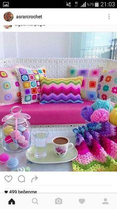 crochet for home Modern Crochet, Love Crochet, Crochet Motif, Crochet Flowers, Crochet Patterns, Crochet Cushion Cover, Crochet Cushions, Crochet Decoration, Crochet Home Decor