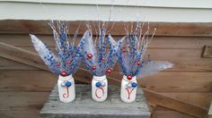 Gorgeous JOY stenciled Mason jars! by ToastyBarkerBoutique on Etsy