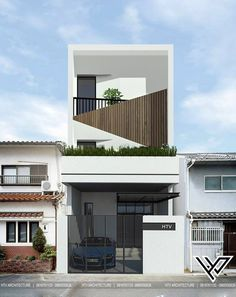 Ideas For Design House Front Modern Architecture Townhouse Exterior, Modern Townhouse, Townhouse Designs, House Front Design, Small House Design, Modern House Design, H Design, Facade Design, Narrow House Designs