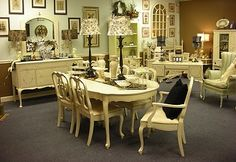 Refinished French Dining Room Set In Creamy White