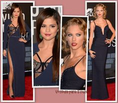 Selena Gomez y Taylor Swift de azul marino en los MTV Video Music Awards 2013