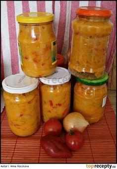 Lečo bez zavařování Meals In A Jar, Preserves, Pesto, Pickles, Cucumber, Kimchi, Frozen, Food And Drink, Cooking Recipes