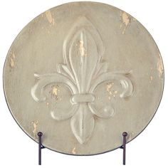 Distressed Tan Fleur-de-lis Decorative Charger ($10) ❤ liked on Polyvore featuring home, home decor, fleur de lis home decor and distressed home decor