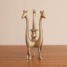 Vintage brass giraffe trio candleholder brass animal by CLYDEhome, $42.00