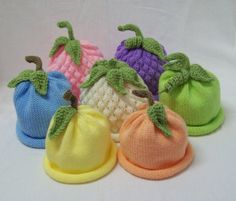 Knit Fruit and Veggie Hats Sweet Baby Pastel 3 Pak Great Idea for Professional Photogrphy Prop sized to fit Infants and Babies