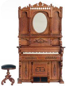 Walnut Piano & Stool | Mary's Dollhouse Miniatures