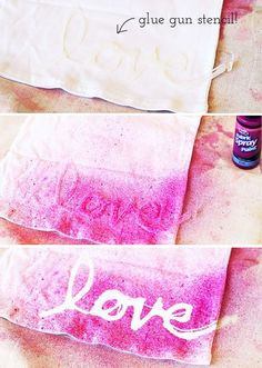 Make your design or saying with hot glue on wax paper first. Peel off when cool. Place glue stencil on your fabric or paper. Then add your paint by spraying, flicking paint (like from an old toothbrush), or use stencil brush. Voila! DIY Hot Glue Stencils / Stenciling (on clothing) via lilblueboo.com