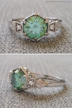 Mint green art deco ring Vintage Moissanite and Diamond Ring Anel Art Deco, Bijoux Art Nouveau, Art Deco Jewelry, Fine Jewelry, Jewelry Design, Art Nouveau Ring, Glass Jewelry, Resin Jewelry, Jewelry Rings