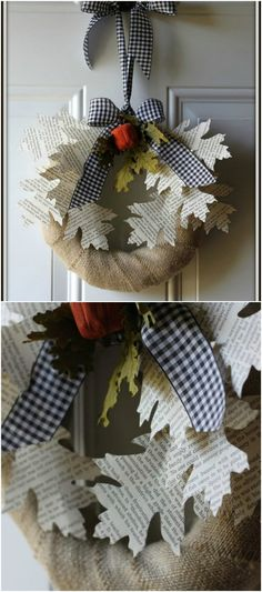 Book Page Leaf Wreath ~ Like color? Why not use colorful pages from old magazines. Enjoy!