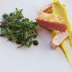 Salade d'herbes et jus d'herbes crème de butternut à la floraline espadon au @xipisteretxekoa..... #menubistronomique #espadon #butternut #herbe #xipisteretxekoa #pimentdespelette #paysbasque #Food #Foodista #PornFood #Cuisine #Yummy #Cooking