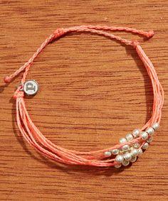 Platinum Corded Bracelet - Salmon/Strawberry Bracelet