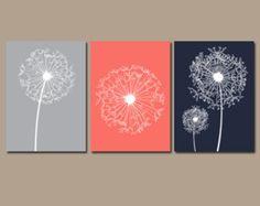 DANDELION Wall Art, Coral Navy Gray Bedroom Pictures CANVAS or Prints Bathroom Artwork, Bedroom Pictures Flower Wall Art, Dandelion Set of 3
