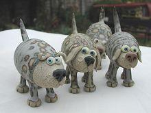 mini pottery dog by muggins pottery UK