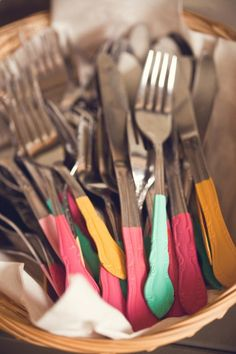 get different patterns of inexpensive silverware and dip the ends into fun colored paints