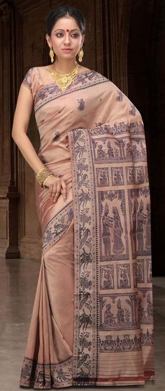 Fawn Bengal Handloom Baluchari #Silk #Saree With #Blouse @ US $144.16