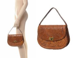 1970's leather handbag from india | Vintage 60s 70s Tooled Leather Satchel Bag 1960s 1970s Floral Tooling ...