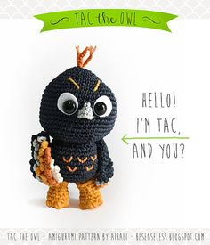 Tac the owl  amigurumi pattern eng by airali on Etsy