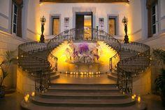 Oheka Castle Grand Staircase Photography: Brett Matthews Photography Read More: http://www.insideweddings.com/weddings/regal-outdoor-ceremony-ballroom-reception-at-oheka-castle-in-ny/821/