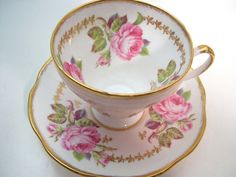 Pink Foley Tea Cup and Saucer Brushed Gold Rims by BeadsbyVince