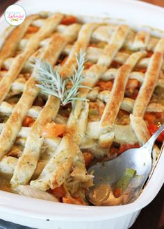 Chicken Pot Pie with Rosemary-Cream Cheese Crust Recipe ~ Classic chicken pot pie is updated with a lighter-than-air rosemary-cream cheese crust. Brimming with delicious root vegetables, this is a dish perfect for fall!